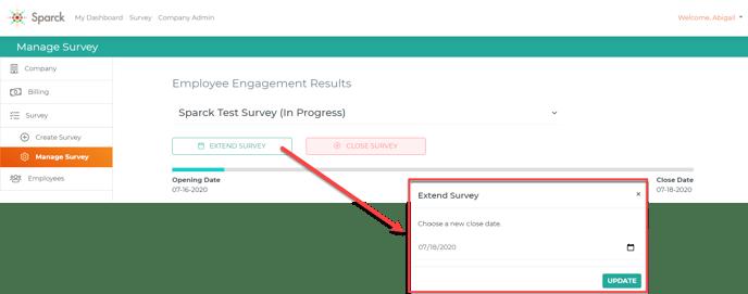 Extend Survey Button